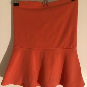 Express Orange Peplum Cotton Stretch Tank